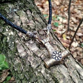 Молот Тора из Итальянской бронзы на шнурке 5 мм с воронами