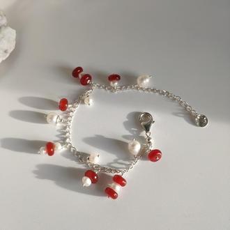 Авторский браслет с жемчугом и сердоликом, Серебряный браслет