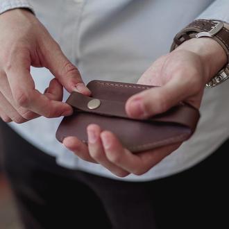 Кожаная ключница, чехол для ключей из натуральной кожи темный шоколад