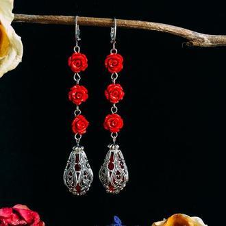 Pомантичні сережки з коралом «Mushimara»