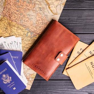 Кожаный тревел Гомер на 6 паспортов от мастерской Hidemont, на выбор 10 цветов 0090