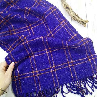 Тканый шарф Яркий синий в клетку