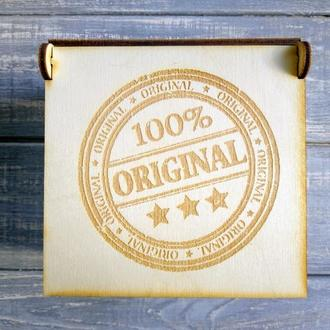 """Маленькая коробка из дерева """"100 % оригинал"""" . Упаковка для продукции или подарков."""