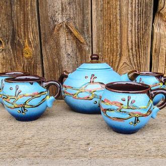 Чайний набір на 4 особи 0,6 л. декор Крайка блакитний