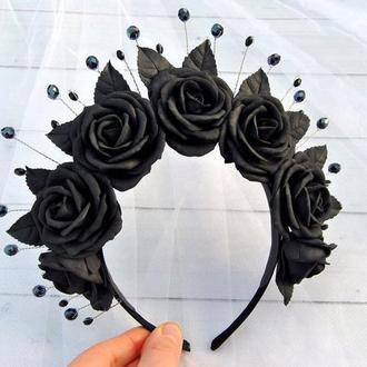 Черные розы обруч для волос Цветочный ободок из бусин и черных роз