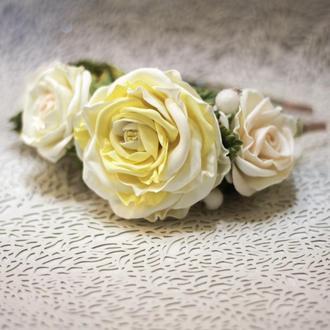 Обруч с розами молочного цвета , украшение для волос для выпускного, свадьбы, фотосессии, 8 марта