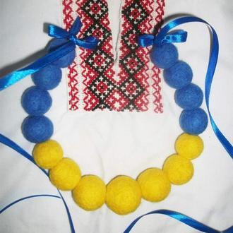 Бусы желто - голубой , флаг Украины