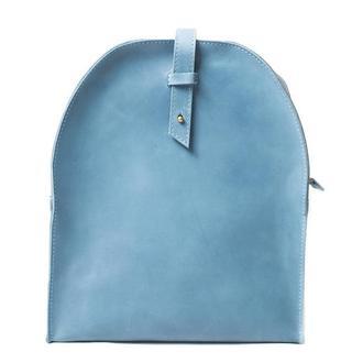 Кожаный мини-рюкзак. 01002/голубой