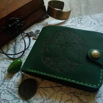 Кошелек из кожи, Кожаный кошелек, Кошелек мужской, Кошелек с рисунком, Бифолд кошелек