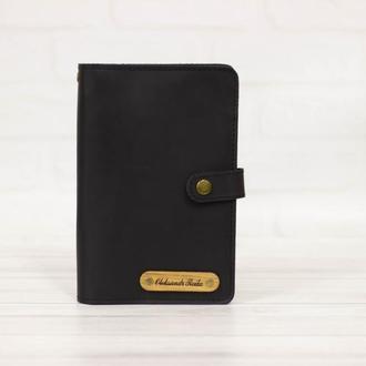 Черный тревел-кейс из кожи. Кожаный кошелек для поездок. Портмоне тревеллер. Кошелек для билетов