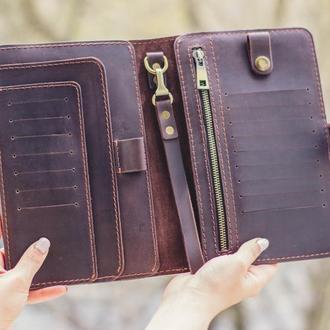 Коричнеый тревел-кейс из кожи. Кожаный кошелек для поездок. Органайзер для путешествий