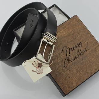 Классический ремень Ремень под брюки Подарок мужчине Подарок мужу Кожаный именной ременьКлассически