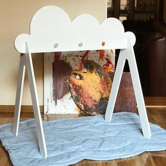 Детская игровая развивающая стойка бэби жим белое облако (baby gym cloud)