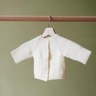 Вязанная молочная кофта для новорожденного 0-3 мес