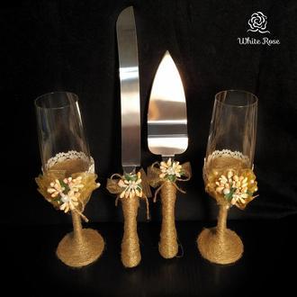 Свадебный набор Рустик / свадебные бокалы / приборы для свадебного торта / весільний набір rustic