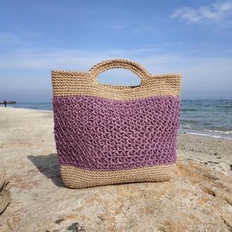 Пляжная сумка из джута
