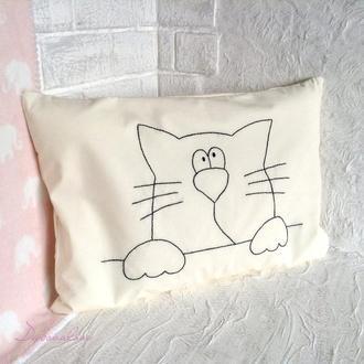 Детская подушка для сна с съемной наволочкой