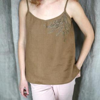 Льняной топ женский майка блуза с ручной росписью под заказ