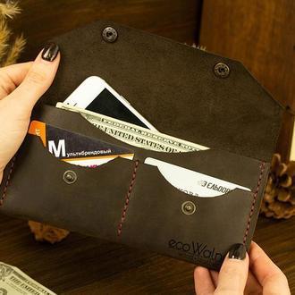 Универсальный кошелек Кожаный кошелек для девушки под документы карты деньги Подарок Мужчине Женщине