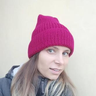 Осенняя Вязанная МАЛИНОВАЯ ШАПКА, яркая, стильная ручной работы