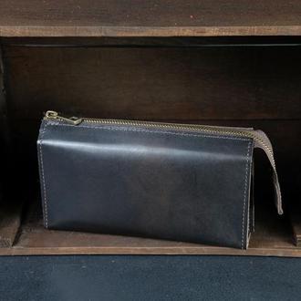 Кожаный кошелек Тревел, кожа итальянский краст, цвет Кофе