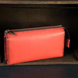 Кожаный кошелек Тревел, кожа итальянский краст, цвет Красный
