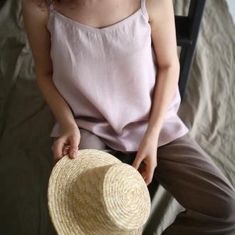 Розовая льнаная блуза майка топ с ручной росписью или без