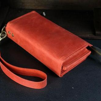 Кожаный кошелек Тревел с ремешком, кожа Crazy Horse, цвет Красный