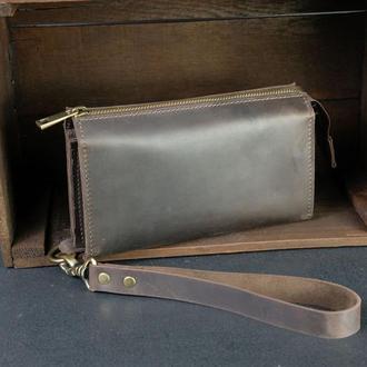 Кожаный кошелек Тревел с ремешком, кожа Crazy Horse, цвет Шоколад