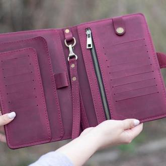 Бордовый тревел-кейс, тревел органайзер, кошелек для авиабилетов именное портмоне для путешествий.