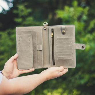Серый тревел-кейс, тревел органайзер, портмоне для авиабилетов, именной кошелек для путешествий.
