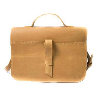 Кожаная сумка на скрытом клапане. 07003/желтый