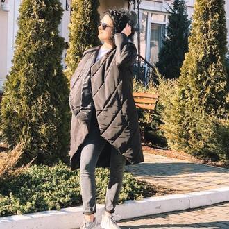 Асимметричное демисезонное пальто, цвет черный