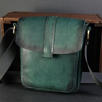 """Мужская сумка """"Модель №44"""" Кожа Итальянский краст цвет Зеленый"""