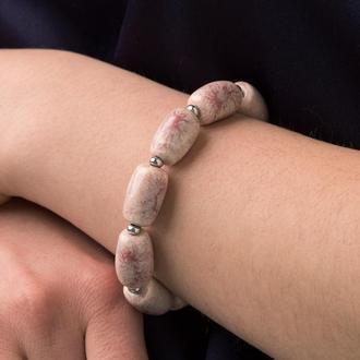 """Нежно розовый браслет из керамики """"Flamingo"""" ручной работы"""