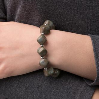 """Зеленовато - серый браслет из керамики """"Night Queen"""" ручной работы"""