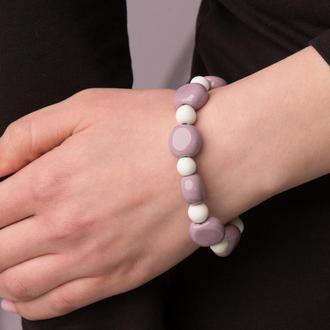 """Фиолетово - белый браслет из керамики """"Purple Winter"""" ручной работы"""