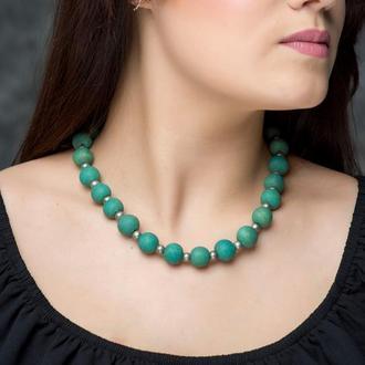 """Зеленое ожерелье из керамики """"Gavial"""" ручной работы"""