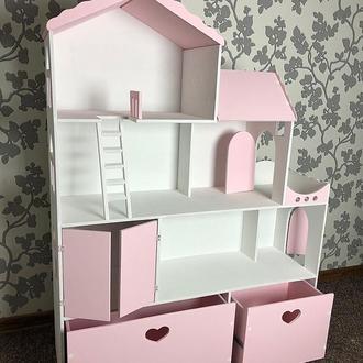 Домик с ящиками и гаражом для игрушек
