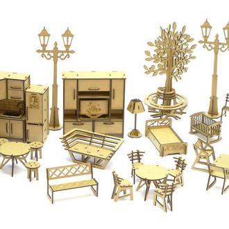 Деревянный магнитный конструктор Woodyco Мебель Большой Набор (208 детали) WOODYCO Furniture Big Set