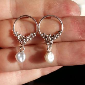 Серебряные серьги с жемчугом кеши, сережки с жемчугом, подарок