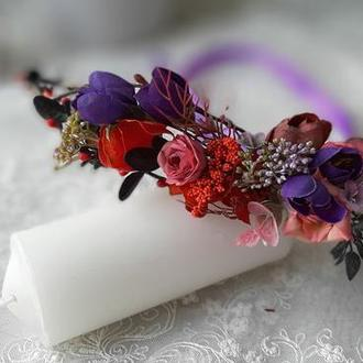 Венок на голову лавандовый прованс фиолетовый