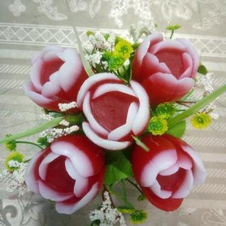 Букет из мыла ручной работы (тюльпаны)