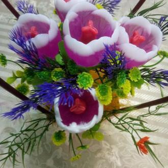 Букет из мыла ручной работы в форме тюльпанов