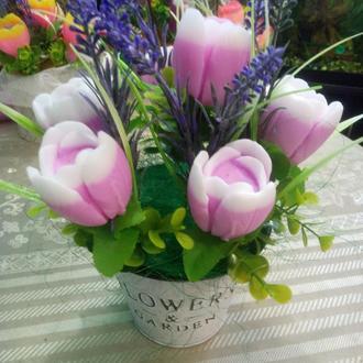 Флористическая композиция. Весенний букет из тюльпанов (мыло ручной работы)