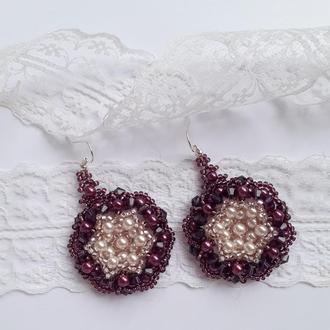 Серьги, серёжки, сережки, кульчики баклажановые, круглые из бисера ручной работы