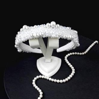 Свадебный белый обруч с искусственным жемчугом, Тиара для невесты, Ободок с жемчугом