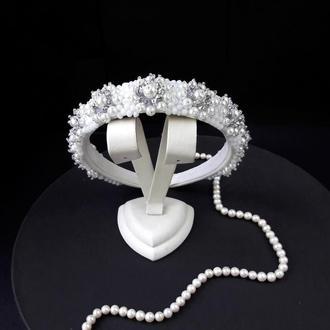 Свадебный белый обруч с жемчугом, Тиара для невесты, Ободок с жемчугом