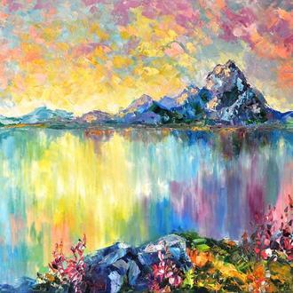 """Картина маслом """"Сиреневые сны"""" пейзаж в живописи, 60х80 см"""