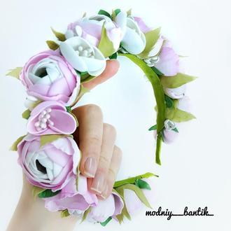 Обруч ободок с цветами ранункулюсами з квітами